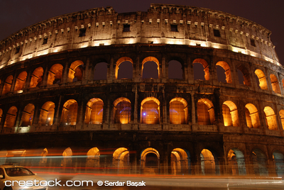 Roman Colosseum illuminated at night